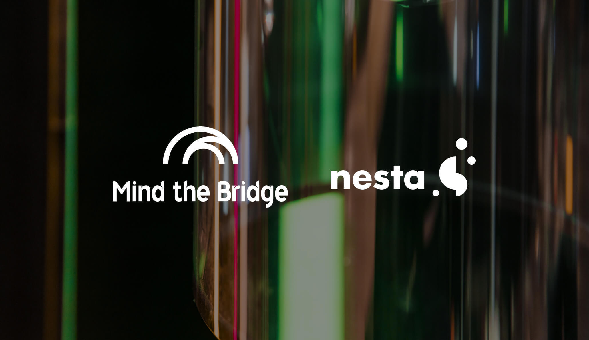The Mind the Bridge and Nesta logo on top of an image of an obscured award